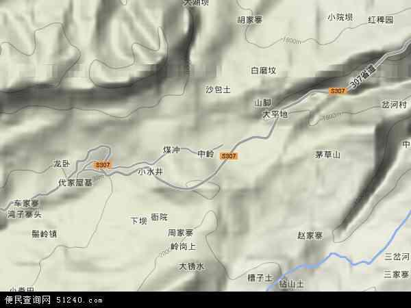 中国贵州省毕节市纳雍县中岭镇地图(卫星地图)
