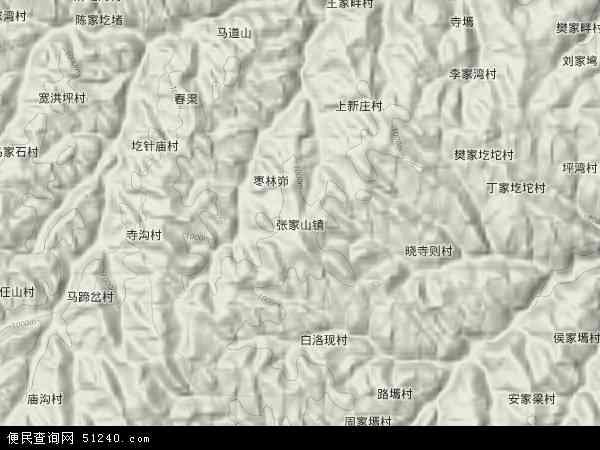 中国陕西省榆林市吴堡县张家山镇地图(卫星地图)图片