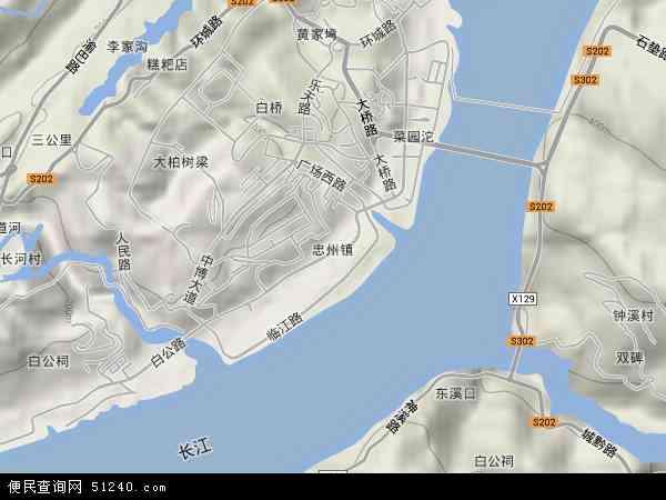 中国重庆市忠县忠州镇地图(卫星地图)