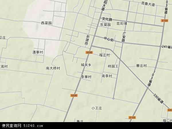 中国河南省平顶山市叶县城关乡地图(卫星地图)