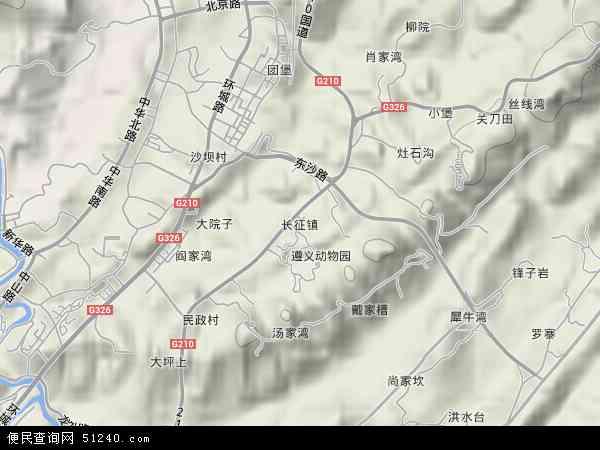中国贵州省遵义市红花岗区长征镇地图(卫星地图)