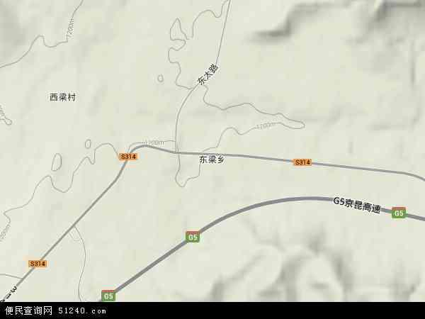 中国山西省阳泉市盂县东梁乡地图(卫星地图)