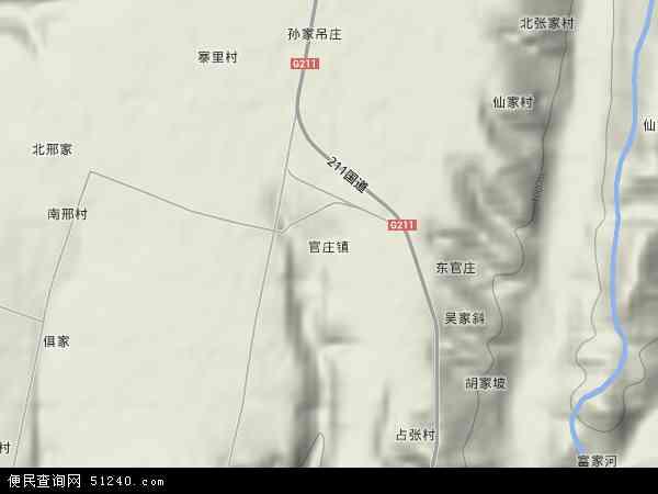 中国陕西省咸阳市淳化县官庄镇地图(卫星地图)