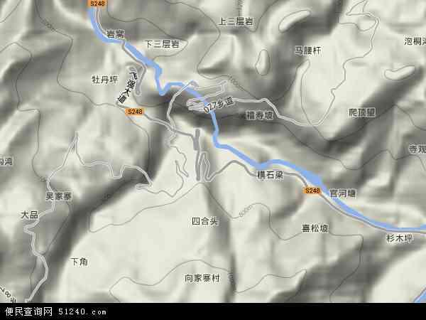 中国湖北省恩施土家族苗族自治州咸丰县黄金洞乡地图(卫星地图)