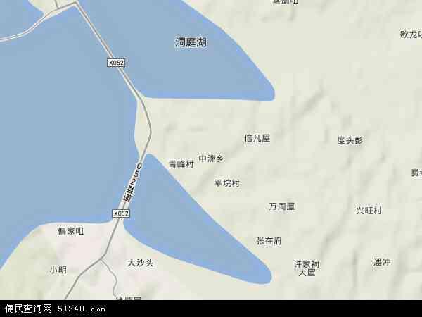 中国湖南省岳阳市岳阳县中洲乡地图(卫星地图)