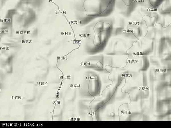 中国贵州省遵义市绥阳县郑场镇地图(卫星地图)