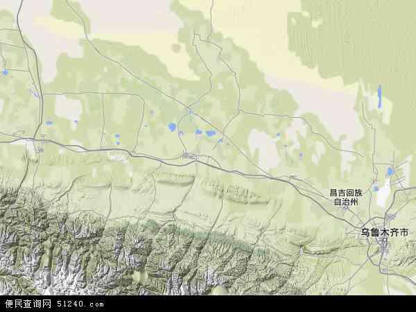 中国新疆维吾尔自治区昌吉回族自治州玛纳斯县兵团一四七团地图(卫星