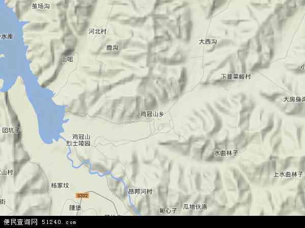 中国辽宁省铁岭市铁岭县鸡冠山乡地图(卫星地图)图片