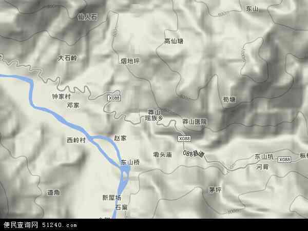 中国湖南省郴州市宜章县莽山瑶族乡地图(卫星