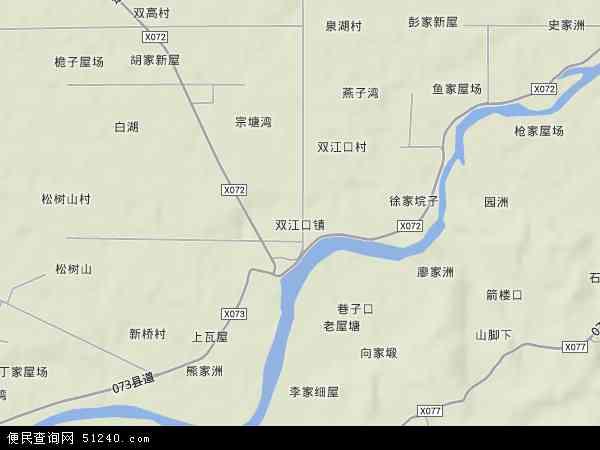 双江口镇地形地图