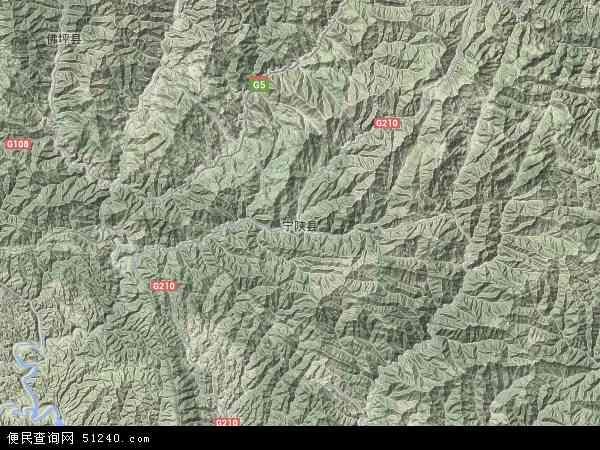 中国陕西省安康市宁陕县太山庙镇地图(卫星地图)