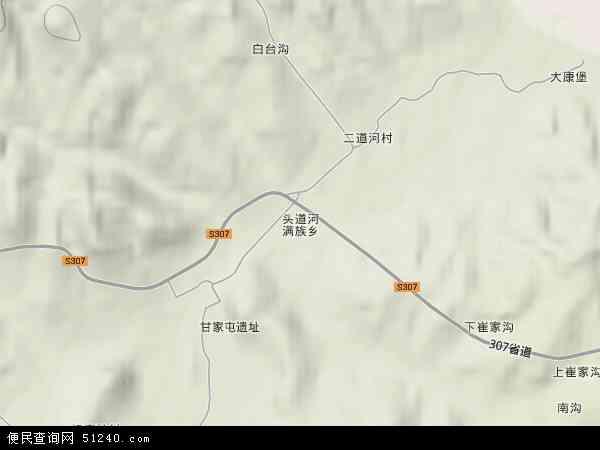 中国辽宁省锦州市义县头道河满族乡地图(卫星地图)