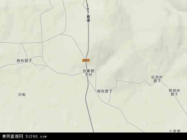 张家营子镇地形地图