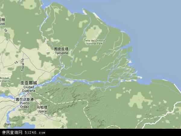 委内瑞拉阿马库罗三角洲地图(卫星地图)
