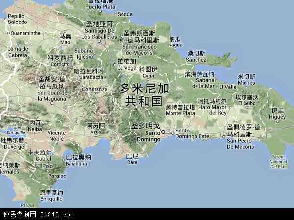 多米尼加共和国地图(卫星地图)图片