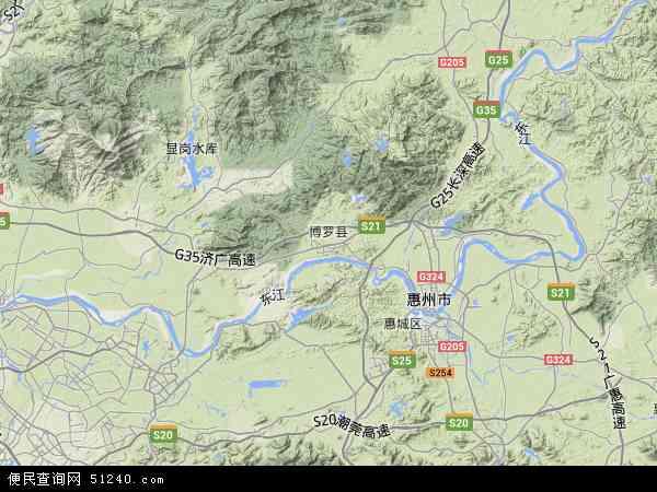 博罗县地形地图 中国广东省惠州市博罗县地图 卫星地图