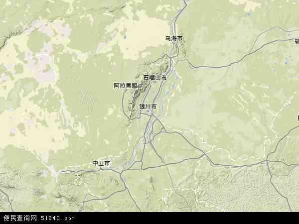 中国宁夏回族自治区地图(卫星地图)