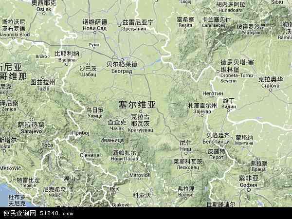 塞尔维亚地图(卫星地图)
