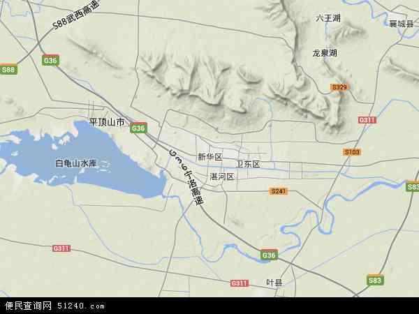 中国河南省平顶山市新华区香山管委会地图(卫星地图)