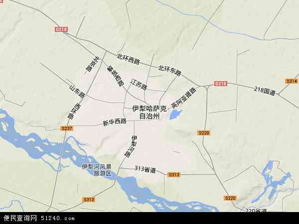 中国新疆维吾尔自治区伊犁哈萨克自治州地图