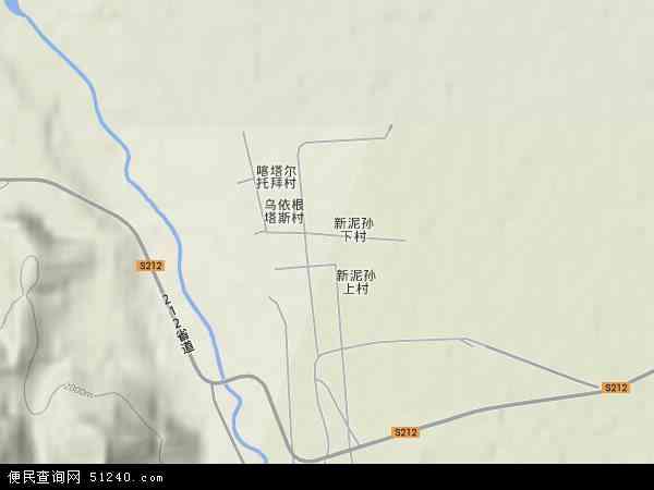 中国新疆维吾尔自治区伊犁哈萨克自治州昭苏县夏特柯尔克孜族乡地图