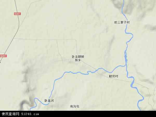 中国黑龙江省牡丹江市宁安市卧龙朝鲜族乡地图(卫星