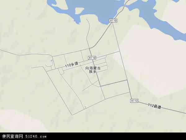 中国吉林省白城市通榆县向海蒙古族乡地图(卫星地图)
