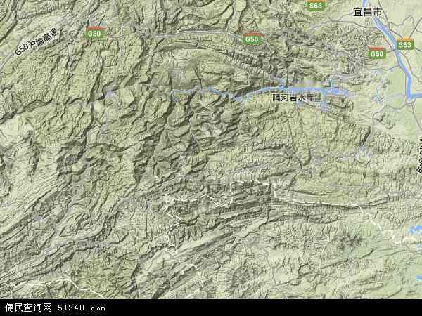 中国湖北省宜昌市五峰土家族自治县地图(卫星地图)