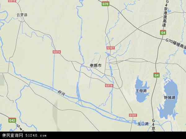 中国湖北省孝感市孝南区孝南区朱湖办事处地图(卫星地图)