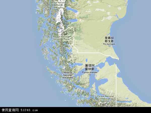 智利麦哲伦-智利南极大区地图(卫星地图)