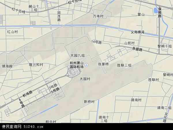 萧山空港经济区地形地图
