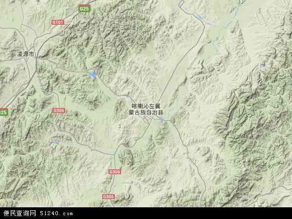 中国辽宁省朝阳市喀喇沁左翼蒙古族自治县国营官大海农场地图(卫星