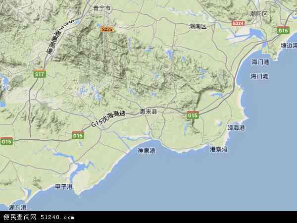 中国广东省揭阳市惠来县揭阳大南海石化工业区地图(卫星地图)