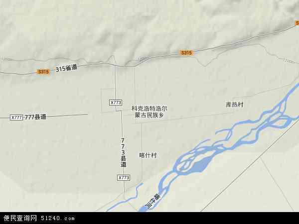 区伊犁哈萨克自治州尼勒克县科克浩特浩尔蒙古民族乡地图(卫星地图)
