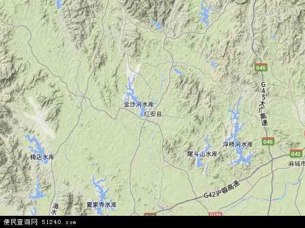 中国湖北省黄冈市红安县天台山旅游开发管理处地图