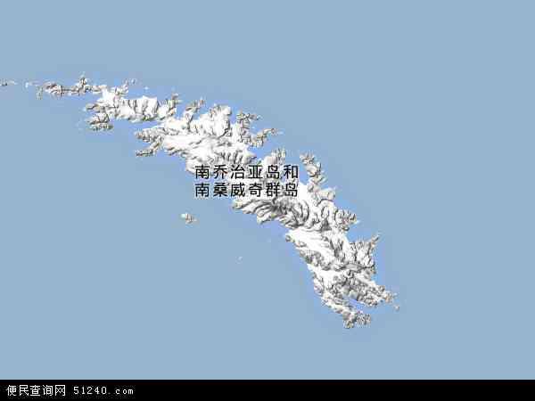南乔治亚岛和南桑威奇群岛地图 - 南乔治亚岛和