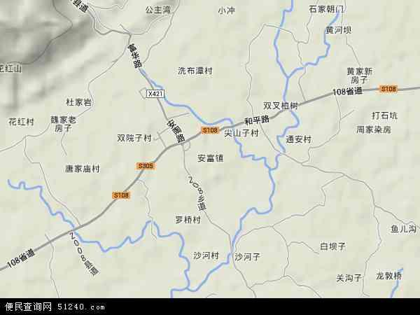 中国重庆市荣昌县安富地图(卫星地图)