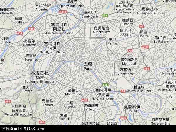 法国巴黎地图(卫星地图)