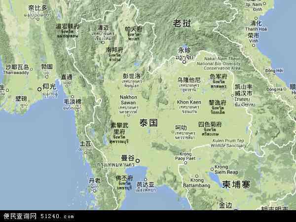 泰国达叻地图(卫星地图)