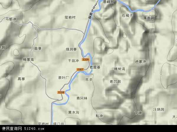 中国贵州省毕节市织金县绮陌地图(卫星地图)