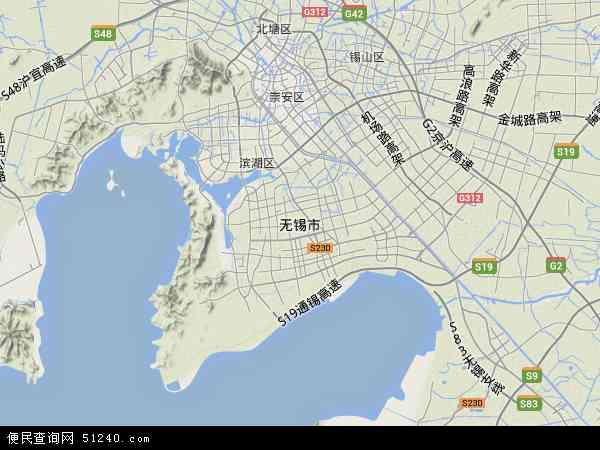 中国江苏省无锡市地图(卫星地图)