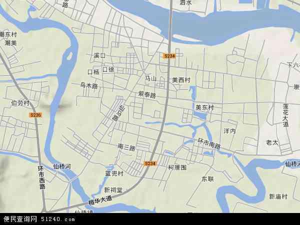 中国广东省揭阳市榕城区西马地图(卫星地图)