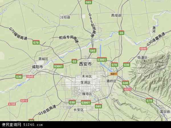 西安市地图 - 西安市卫星地图