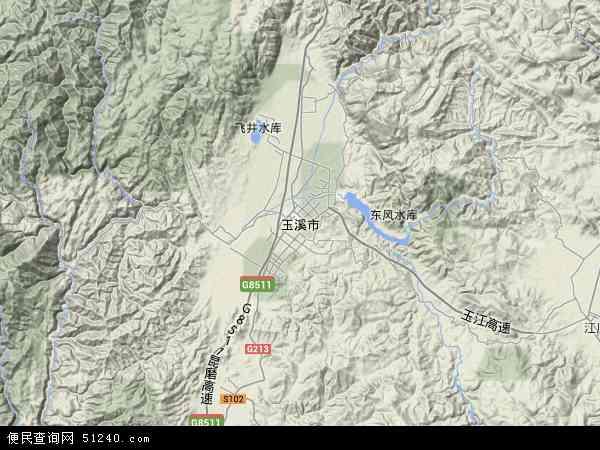 中国云南省玉溪市地图(卫星地图)