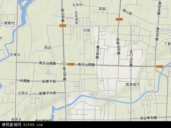 中国山东省潍坊市青州市益都地图(卫星地图)