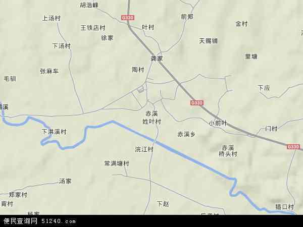 中国浙江省金华市兰溪市赤溪地图(卫星地图)