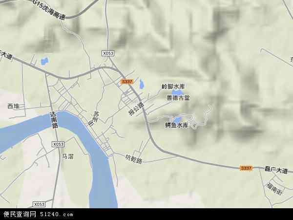 中国广东省汕头市濠江区达濠地图(卫星地图)