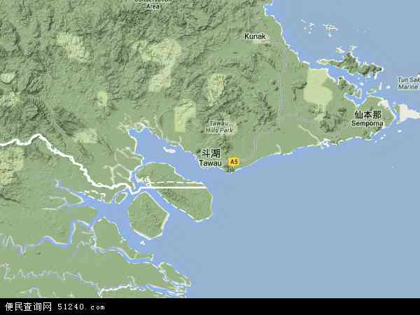 马来西亚沙巴斗湖地图(卫星地图)