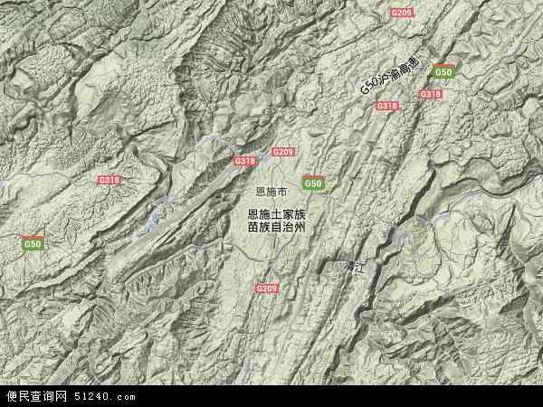 中国湖北省恩施土家族苗族自治州恩施市地图图片