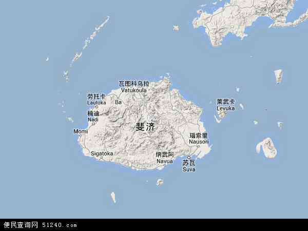 斐济地图 - 斐济卫星地图